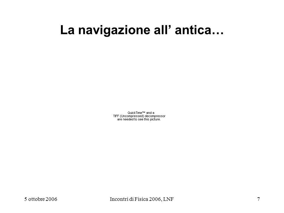 5 ottobre 2006Incontri di Fisica 2006, LNF7 La navigazione all' antica…