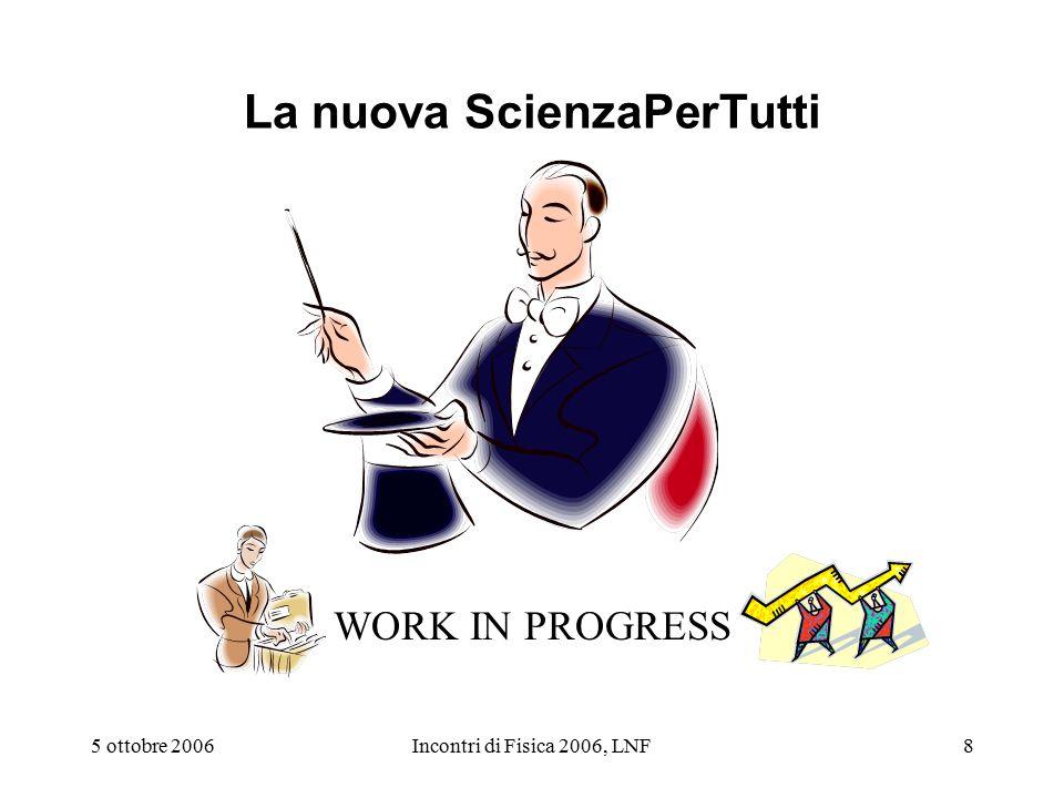 5 ottobre 2006Incontri di Fisica 2006, LNF8 La nuova ScienzaPerTutti WORK IN PROGRESS