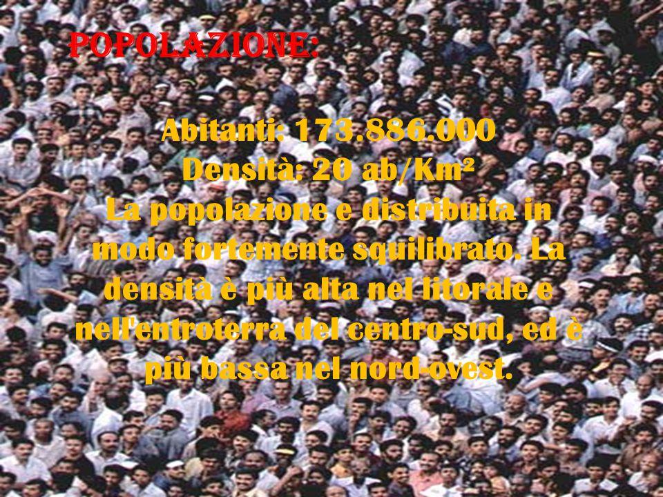 POPOLAZIONE: Abitanti: 173.886.000 Densità: 20 ab/Km² La popolazione e distribuita in modo fortemente squilibrato.