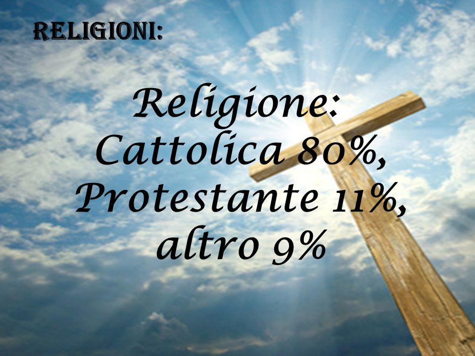 RELIGIONI: Religione: Cattolica 80%, Protestante 11%, altro 9%