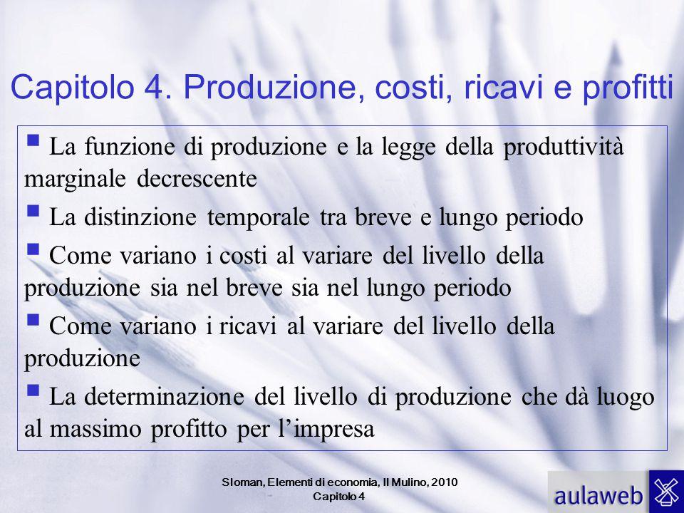 Capitolo 4. Produzione, costi, ricavi e profitti  La funzione di produzione e la legge della produttività marginale decrescente  La distinzione temp