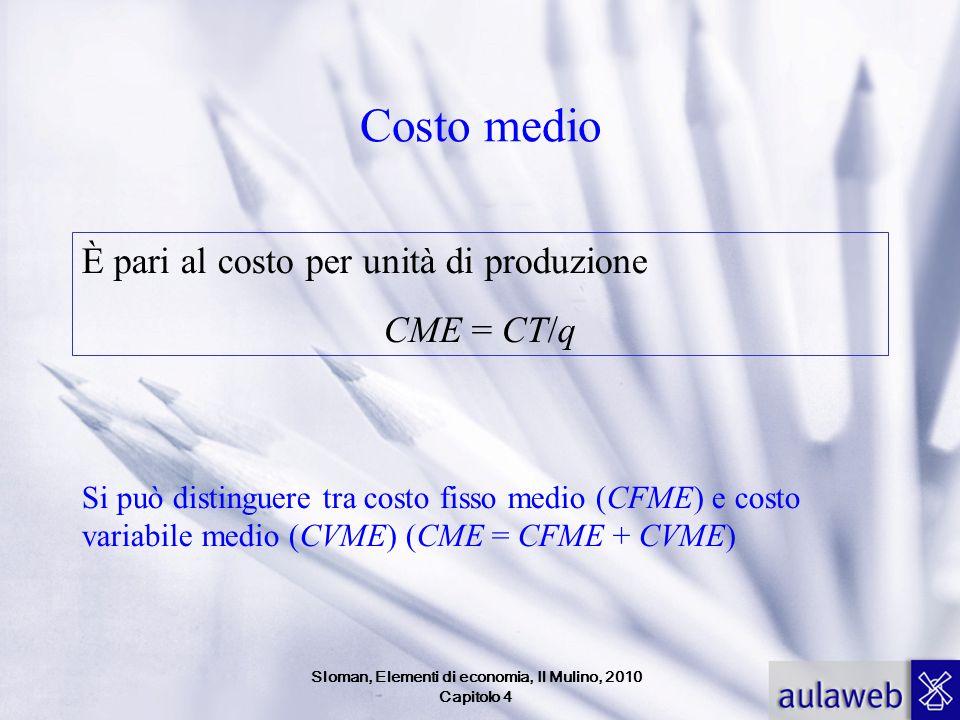 Costo medio È pari al costo per unità di produzione CME = CT/q Si può distinguere tra costo fisso medio (CFME) e costo variabile medio (CVME) (CME = C