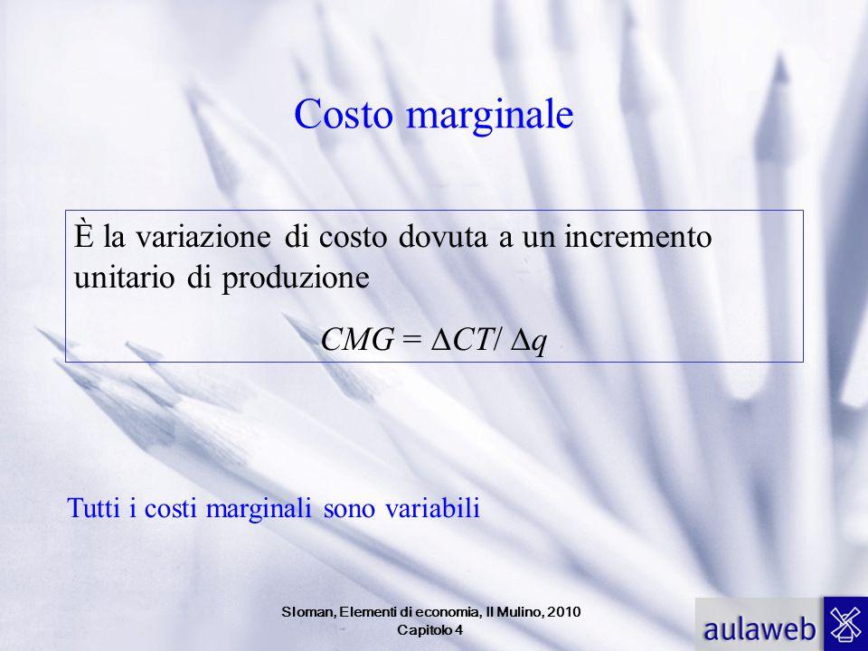 Costo marginale È la variazione di costo dovuta a un incremento unitario di produzione CMG =  CT/  q Tutti i costi marginali sono variabili Sloman,
