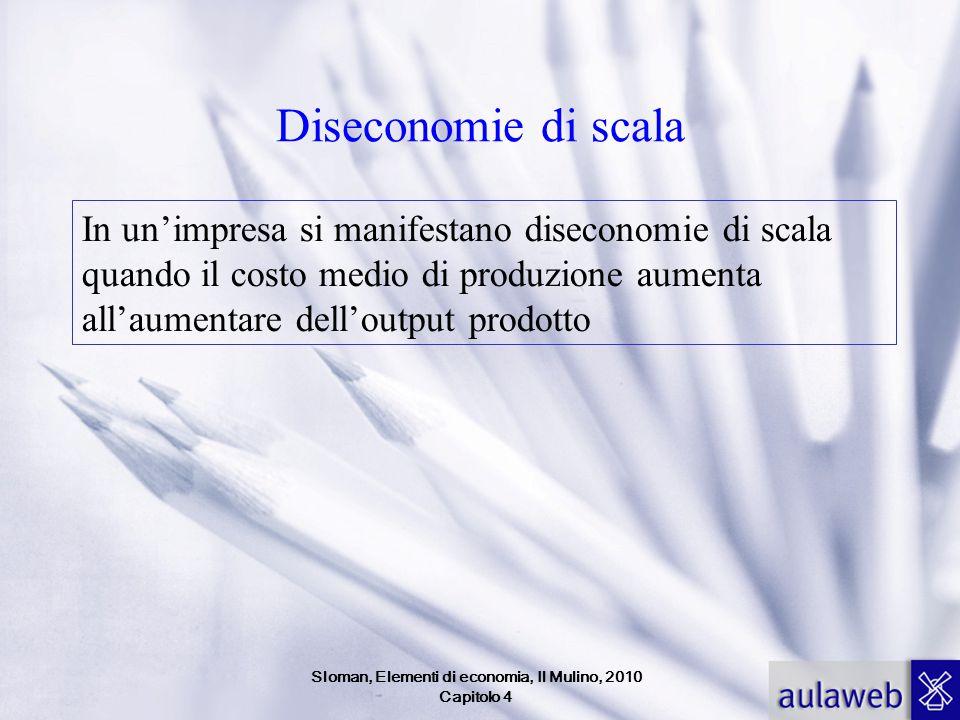 Diseconomie di scala In un'impresa si manifestano diseconomie di scala quando il costo medio di produzione aumenta all'aumentare dell'output prodotto