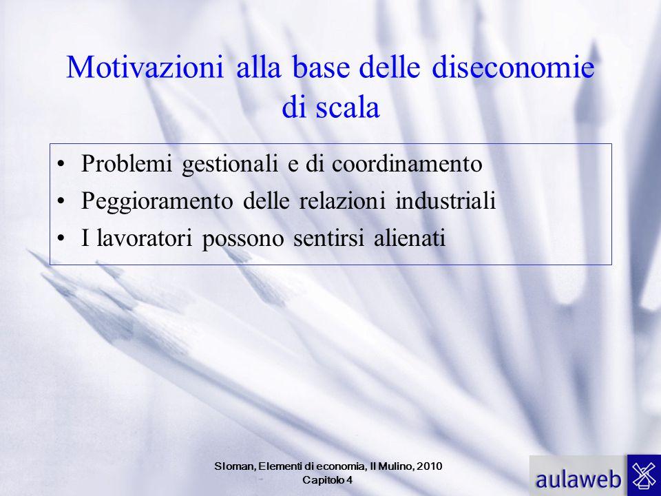 Motivazioni alla base delle diseconomie di scala Problemi gestionali e di coordinamento Peggioramento delle relazioni industriali I lavoratori possono