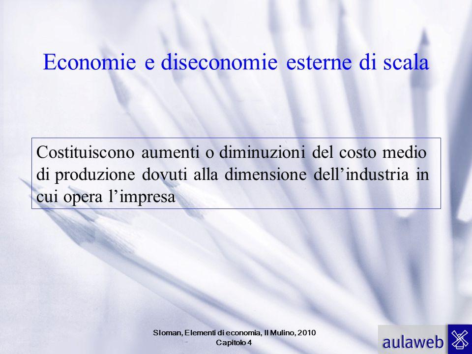 Economie e diseconomie esterne di scala Costituiscono aumenti o diminuzioni del costo medio di produzione dovuti alla dimensione dell'industria in cui