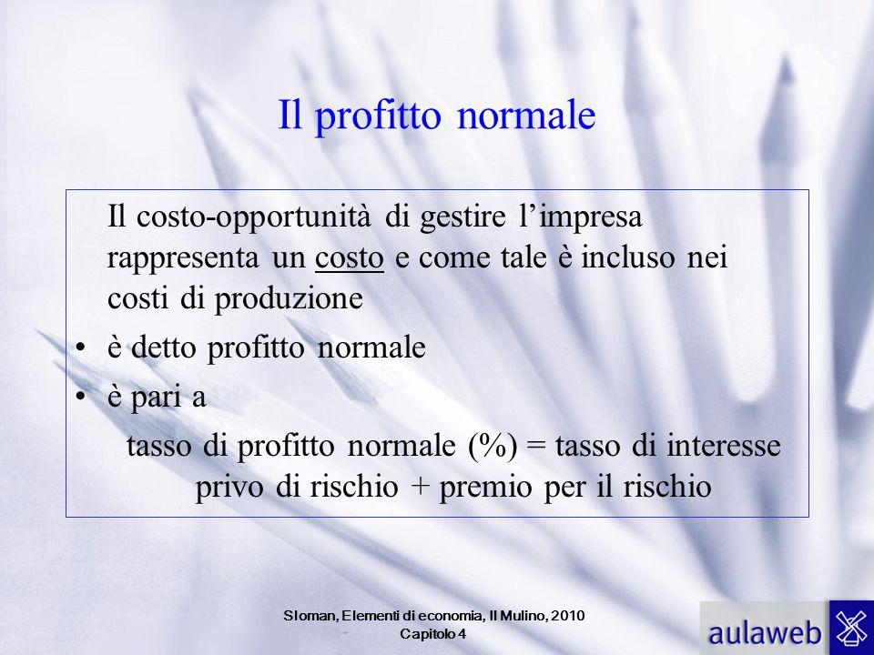 Il profitto normale Il costo-opportunità di gestire l'impresa rappresenta un costo e come tale è incluso nei costi di produzione è detto profitto norm