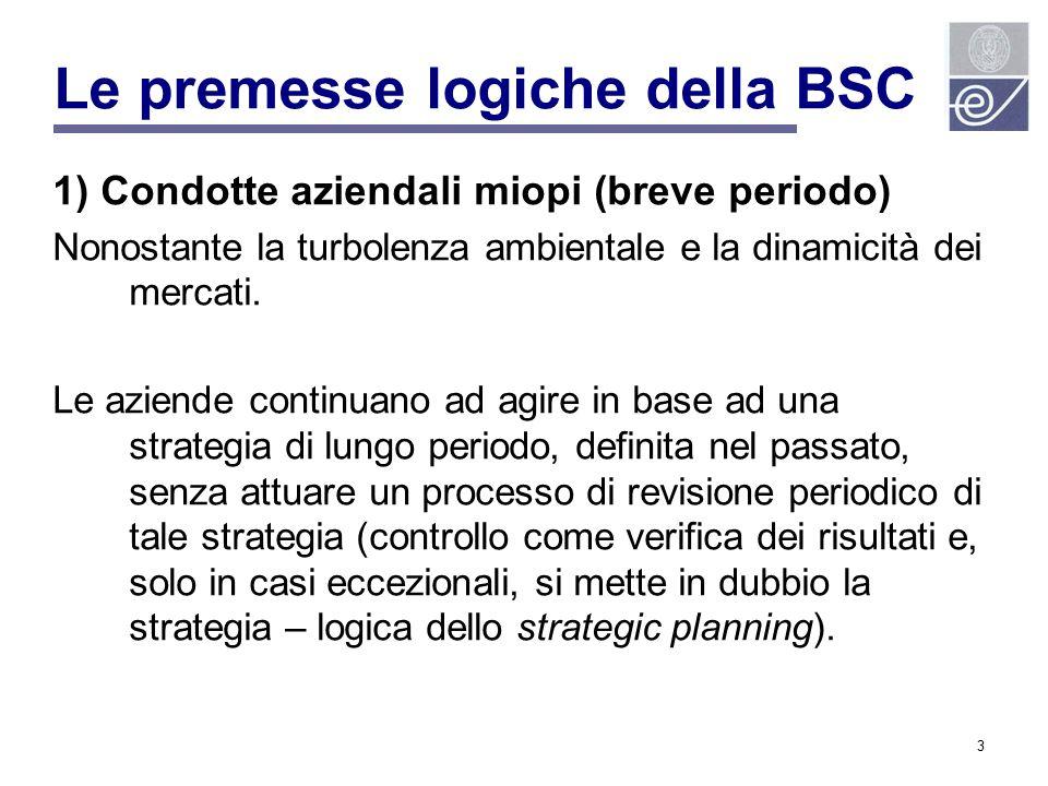 4 Le premesse logiche della BSC 2) Spaccatura tra soggetti decisori e soggetti attuatori Nonostante la turbolenza ambientale e la dinamicità dei mercati.