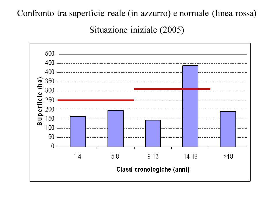 Confronto tra superficie reale (in azzurro) e normale (linea rossa) Situazione iniziale (2005)