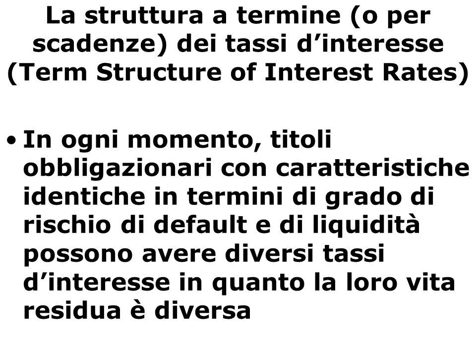 La struttura a termine (o per scadenze) dei tassi d'interesse (Term Structure of Interest Rates) In ogni momento, titoli obbligazionari con caratteris