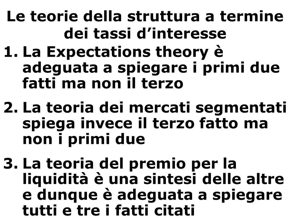 Le teorie della struttura a termine dei tassi d'interesse 1.La Expectations theory è adeguata a spiegare i primi due fatti ma non il terzo 2.La teoria