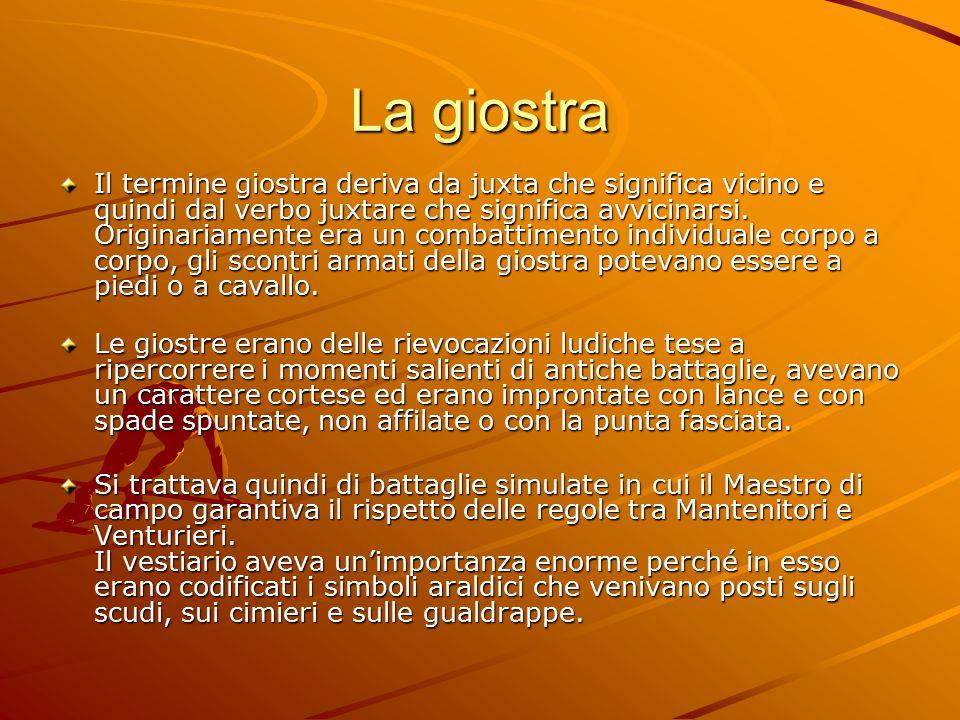 La giostra Il termine giostra deriva da juxta che significa vicino e quindi dal verbo juxtare che significa avvicinarsi.