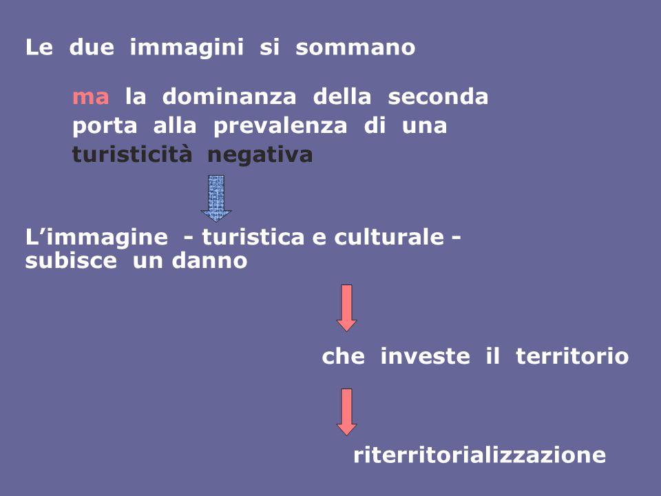 ma la dominanza della seconda porta alla prevalenza di una turisticità negativa L'immagine - turistica e culturale - subisce un danno che investe il t
