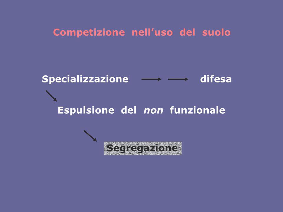 Competizione nell'uso del suolo Specializzazionedifesa Espulsione del non funzionale Segregazione