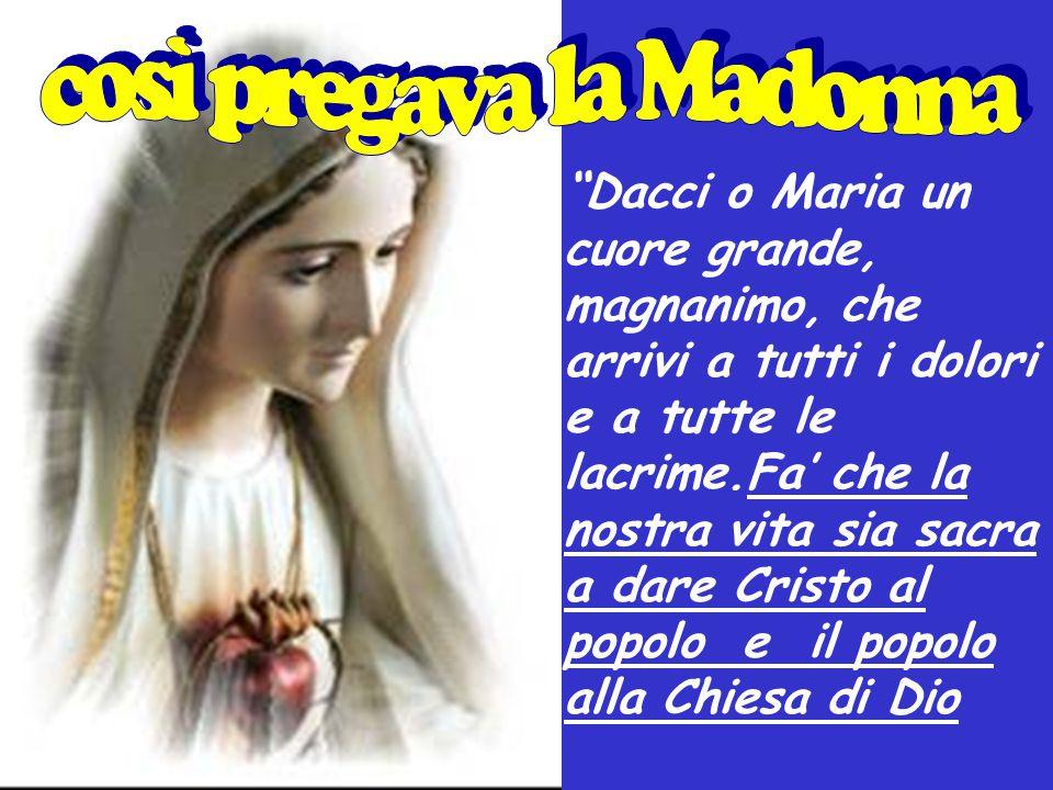 """""""Dacci o Maria un cuore grande, magnanimo, che arrivi a tutti i dolori e a tutte le lacrime.Fa' che la nostra vita sia sacra a dare Cristo al popolo e"""