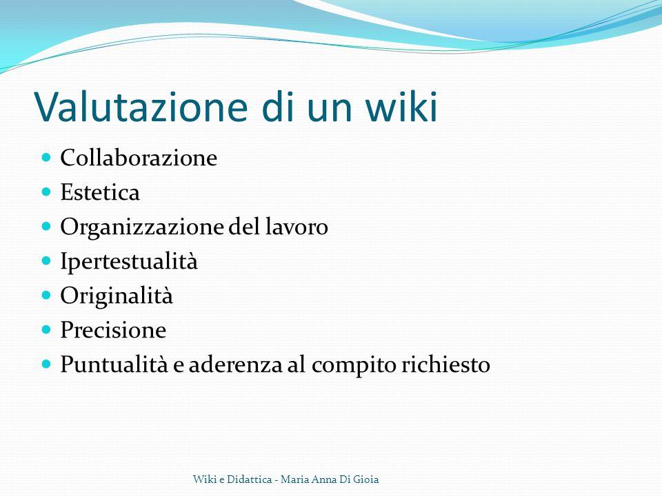 Valutazione di un wiki Collaborazione Estetica Organizzazione del lavoro Ipertestualità Originalità Precisione Puntualità e aderenza al compito richie
