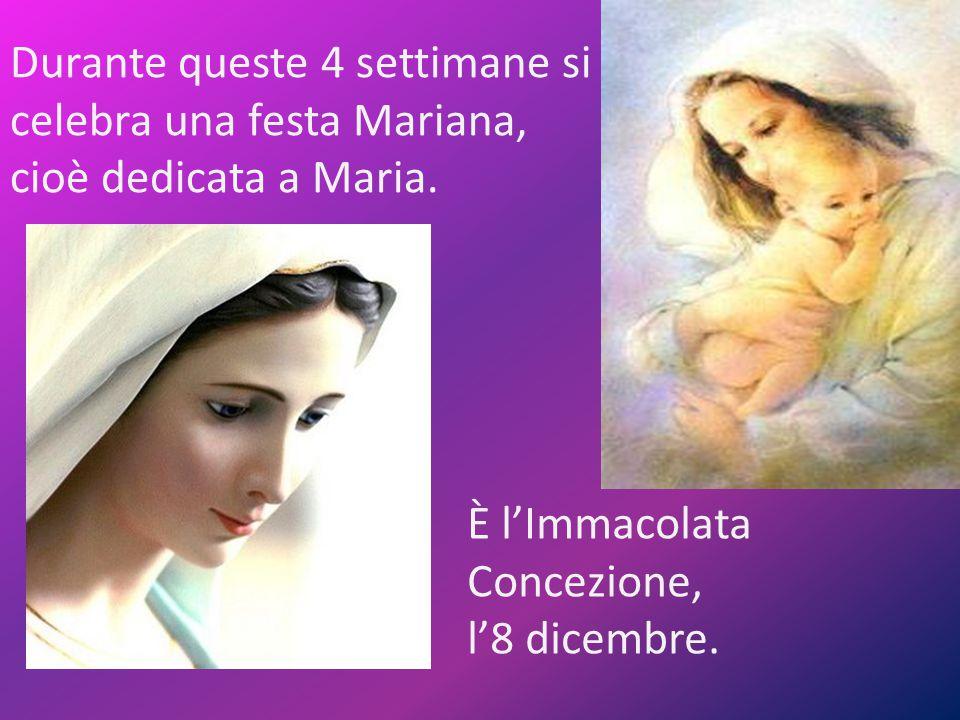 Durante queste 4 settimane si celebra una festa Mariana, cioè dedicata a Maria. È l'Immacolata Concezione, l'8 dicembre.