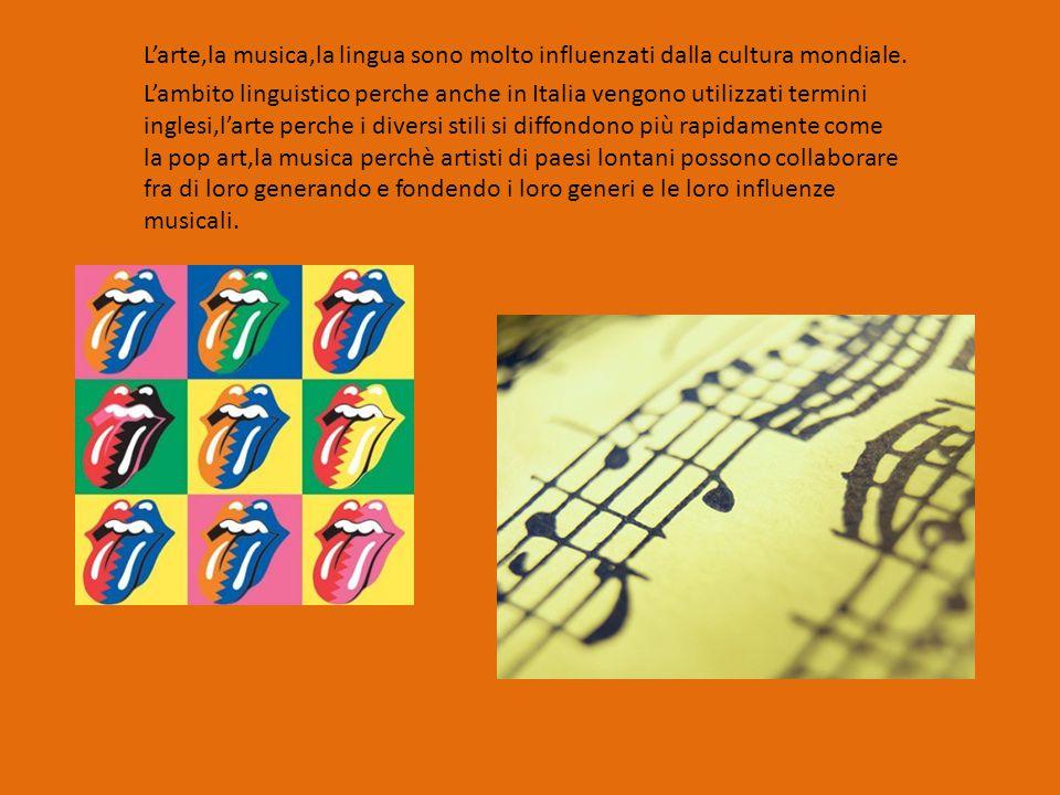 L'arte,la musica,la lingua sono molto influenzati dalla cultura mondiale. L'ambito linguistico perche anche in Italia vengono utilizzati termini ingle