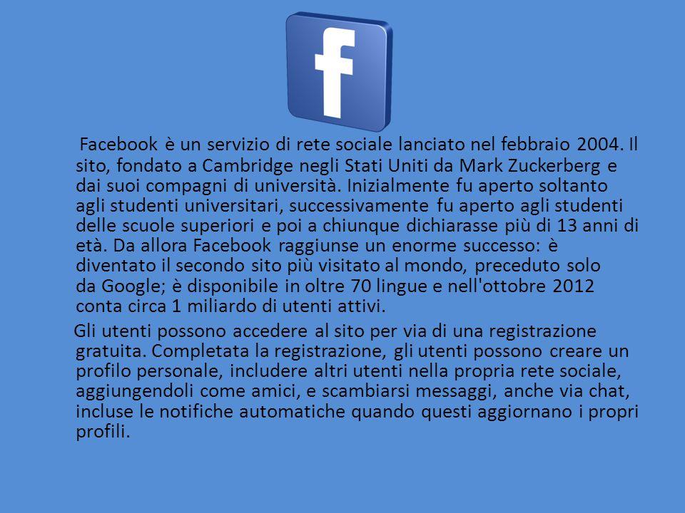 Facebook è un servizio di rete sociale lanciato nel febbraio 2004.
