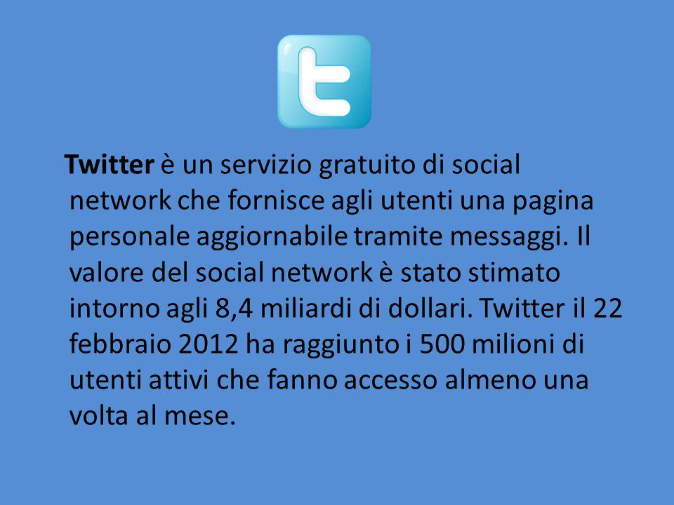 Twitter è un servizio gratuito di social network che fornisce agli utenti una pagina personale aggiornabile tramite messaggi. Il valore del social net