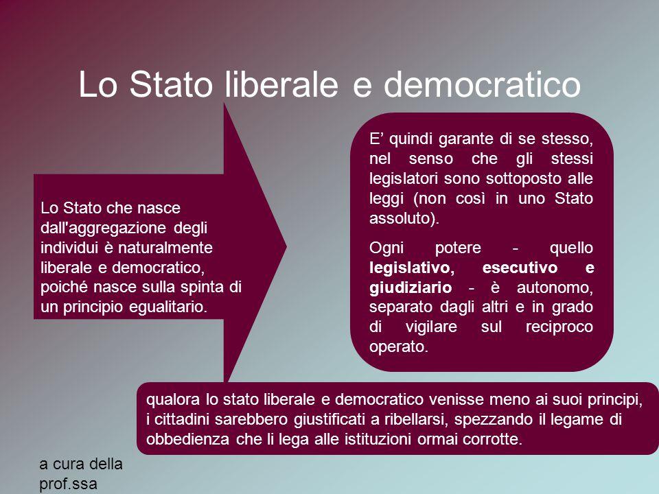 a cura della prof.ssa MariaElena Auxilia Lo Stato liberale e democratico Lo Stato che nasce dall aggregazione degli individui è naturalmente liberale e democratico, poiché nasce sulla spinta di un principio egualitario.