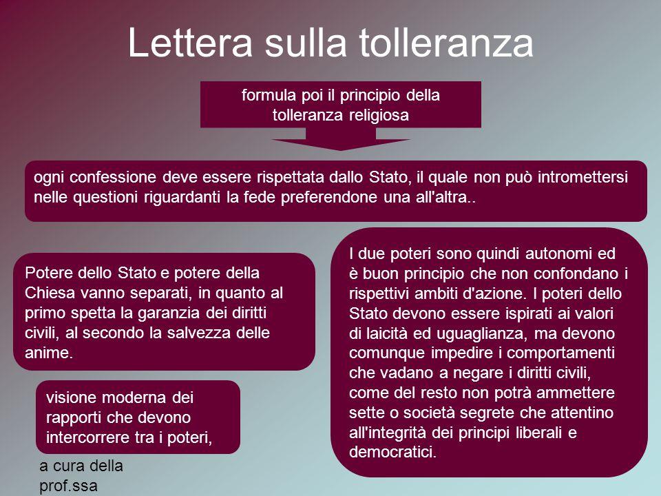 a cura della prof.ssa MariaElena Auxilia Lettera sulla tolleranza formula poi il principio della tolleranza religiosa ogni confessione deve essere ris