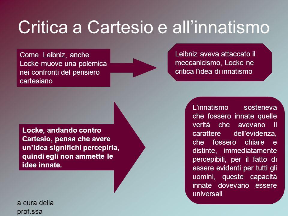 a cura della prof.ssa MariaElena Auxilia Critica a Cartesio e all'innatismo Come Leibniz, anche Locke muove una polemica nei confronti del pensiero ca