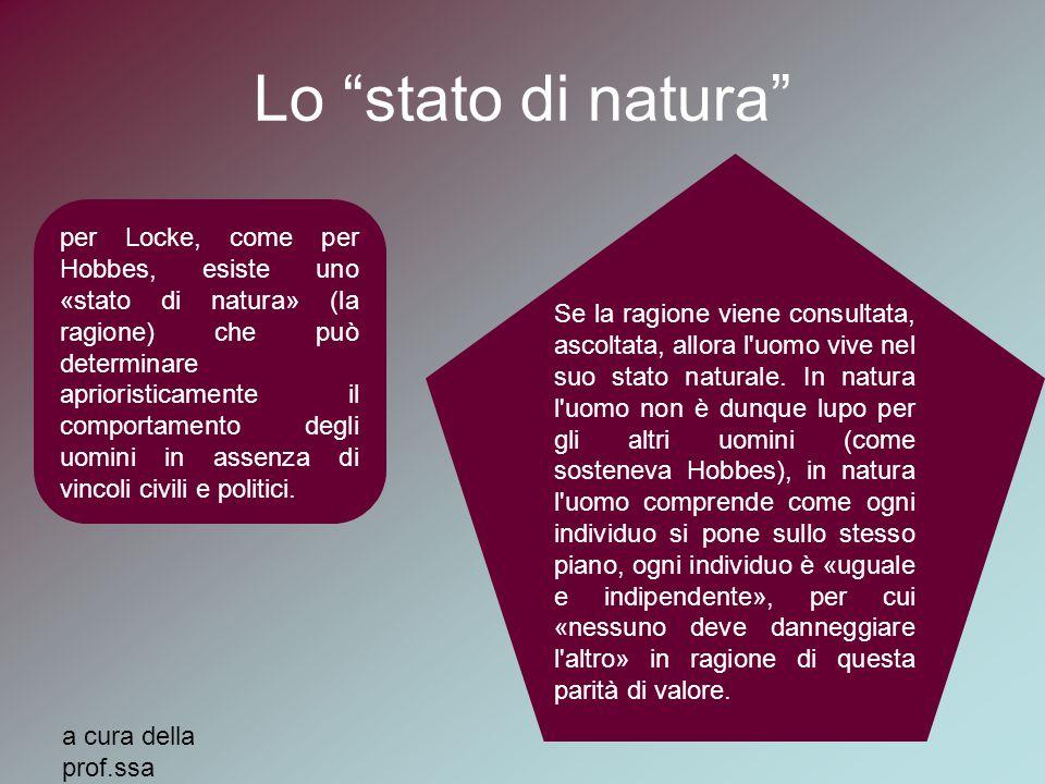 """Lo """"stato di natura"""" per Locke, come per Hobbes, esiste uno «stato di natura» (la ragione) che può determinare aprioristicamente il comportamento degl"""