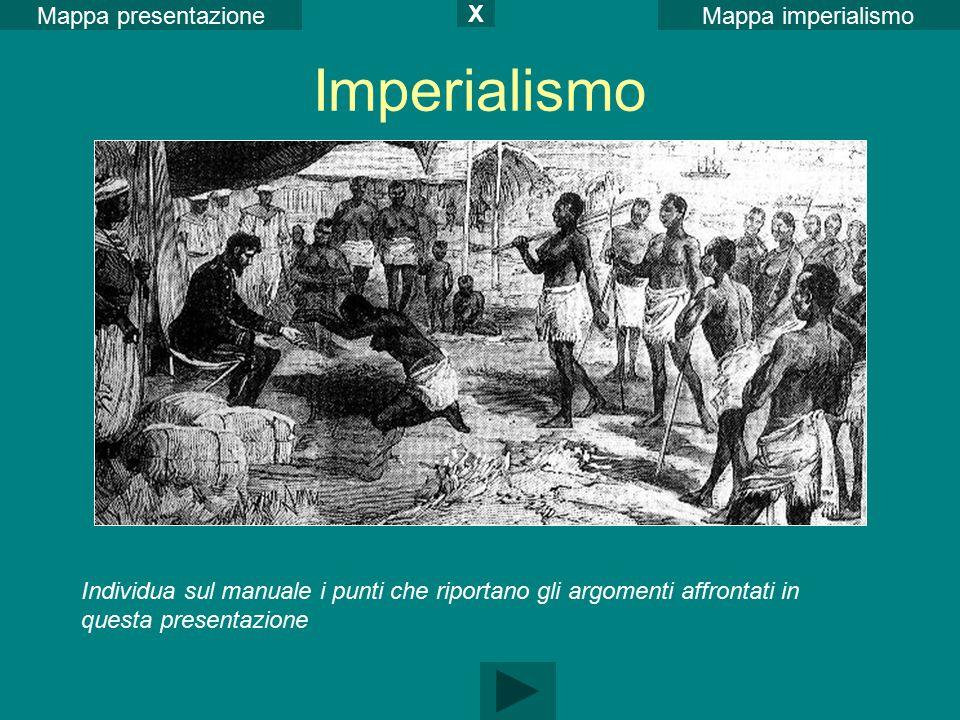 Imperialismo Mappa imperialismoMappa presentazione Individua sul manuale i punti che riportano gli argomenti affrontati in questa presentazione X