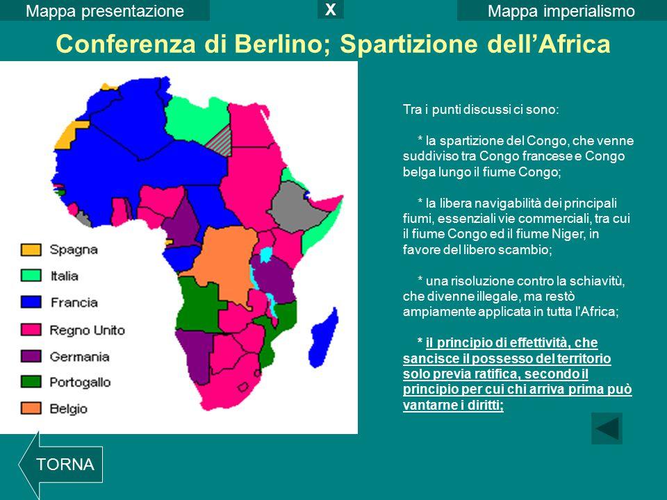 Conferenza di Berlino; Spartizione dell'Africa Tra i punti discussi ci sono: * la spartizione del Congo, che venne suddiviso tra Congo francese e Cong