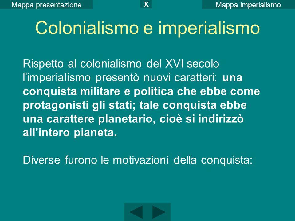 Mappa imperialismoMappa presentazione X Colonialismo e imperialismo Rispetto al colonialismo del XVI secolo l'imperialismo presentò nuovi caratteri: u