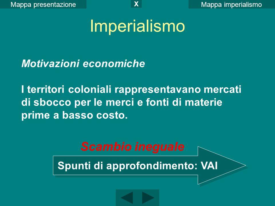 Mappa imperialismoMappa presentazione X Motivazioni economiche I territori coloniali rappresentavano mercati di sbocco per le merci e fonti di materie