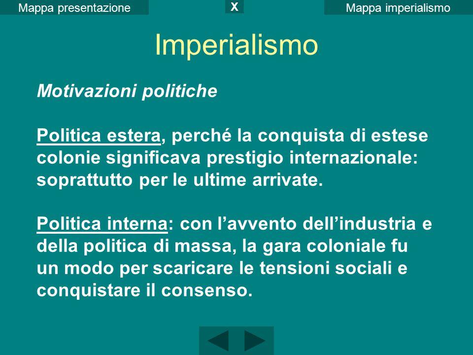 Mappa imperialismoMappa presentazione X Motivazioni politiche Politica estera, perché la conquista di estese colonie significava prestigio internazion