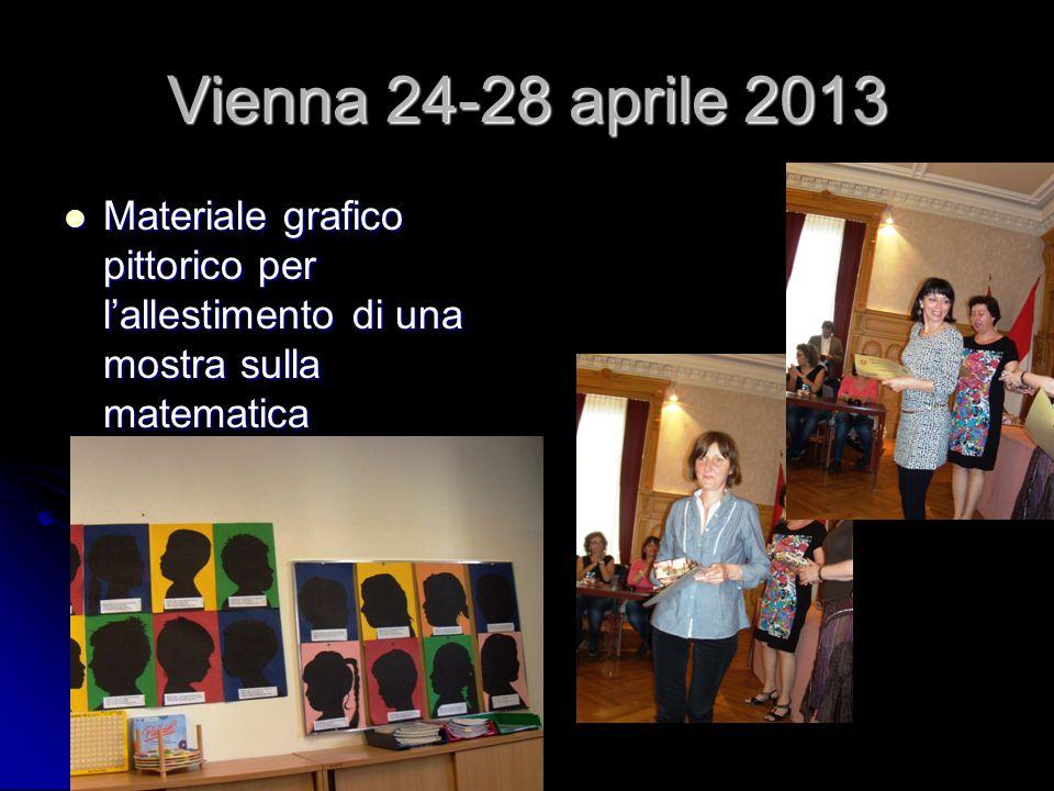Vienna 24-28 aprile 2013 Materiale grafico pittorico per l'allestimento di una mostra sulla matematica Materiale grafico pittorico per l'allestimento