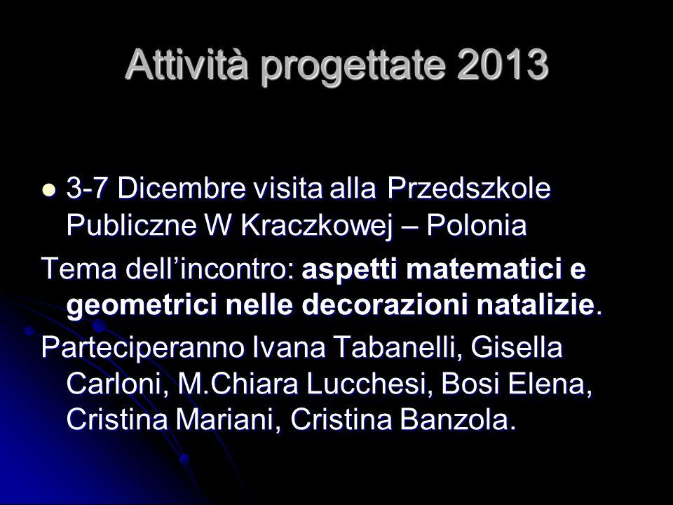 Attività progettate 2013 3-7 Dicembre visita alla Przedszkole Publiczne W Kraczkowej – Polonia 3-7 Dicembre visita alla Przedszkole Publiczne W Kraczk