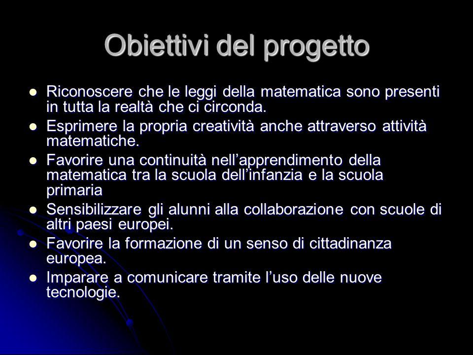 Obiettivi del progetto Riconoscere che le leggi della matematica sono presenti in tutta la realtà che ci circonda. Riconoscere che le leggi della mate