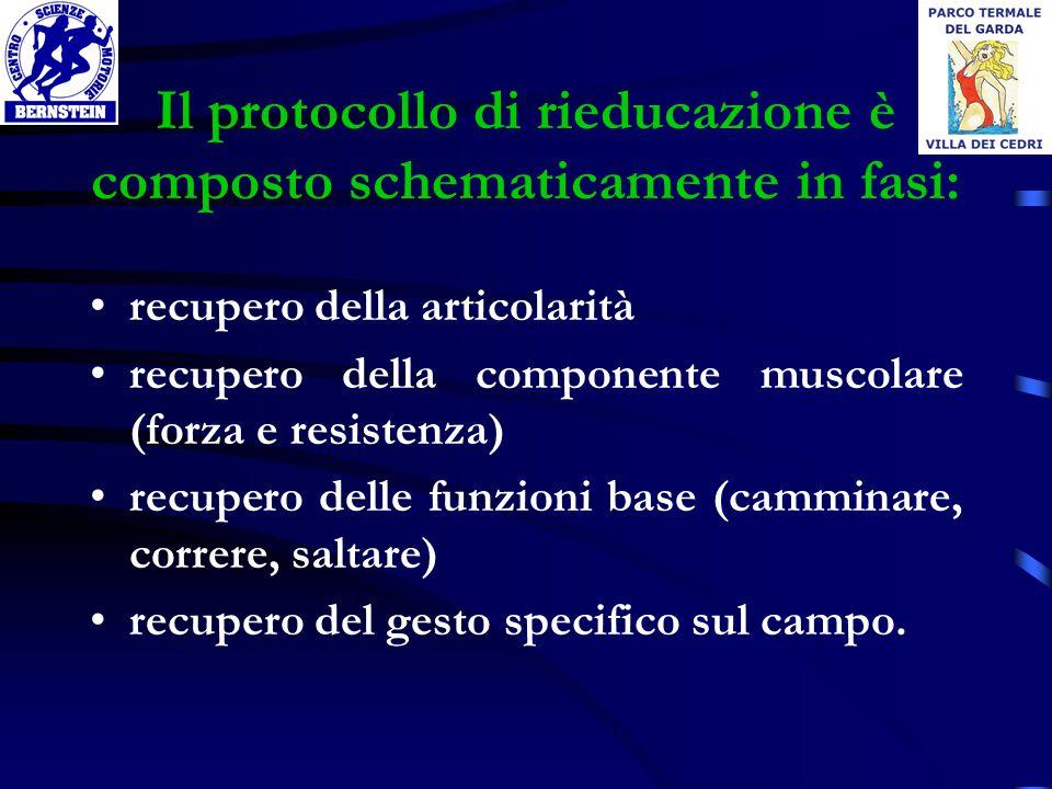 Il protocollo di rieducazione è composto schematicamente in fasi: recupero della articolarità recupero della componente muscolare (forza e resistenza)