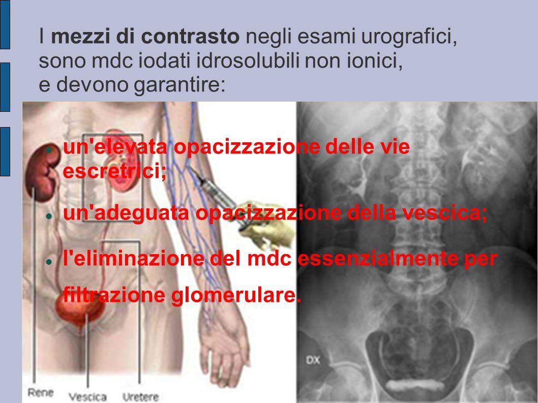 I mezzi di contrasto negli esami urografici, sono mdc iodati idrosolubili non ionici, e devono garantire: un'elevata opacizzazione delle vie escretric