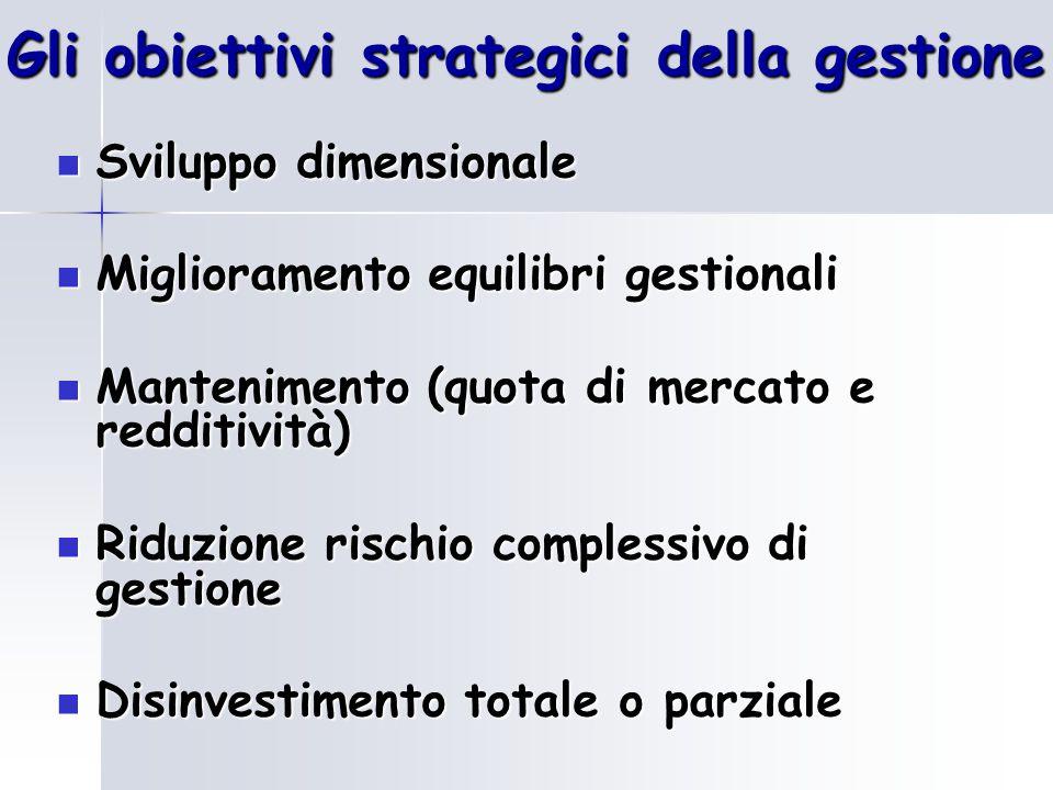 Gli obiettivi strategici della gestione Sviluppo dimensionale Sviluppo dimensionale Miglioramento equilibri gestionali Miglioramento equilibri gestion