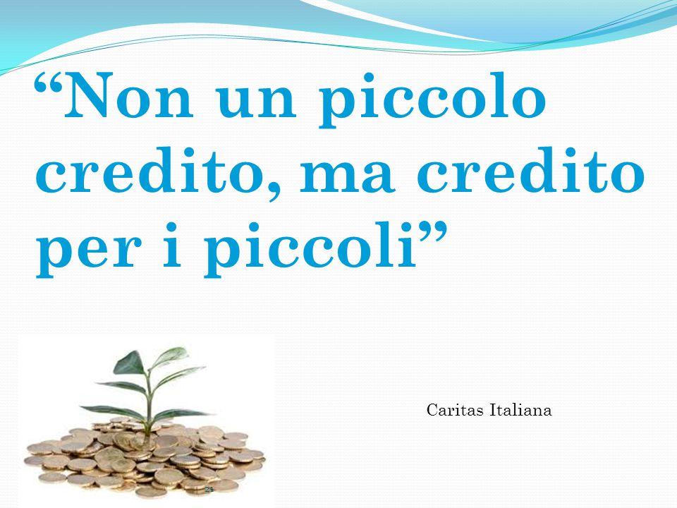Non un piccolo credito, ma credito per i piccoli Caritas Italiana 21