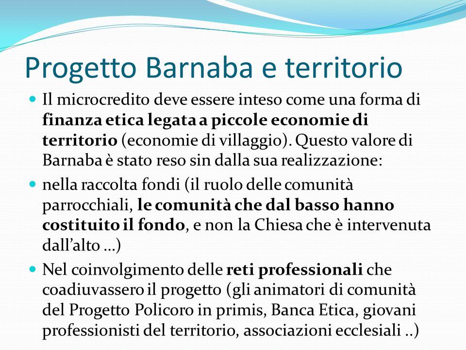 Progetto Barnaba e territorio Il microcredito deve essere inteso come una forma di finanza etica legata a piccole economie di territorio (economie di villaggio).