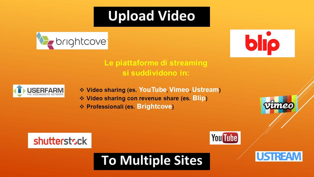 Le piattaforme di streaming si suddividono in:  Video sharing (es. YouTube, Vimeo, Ustream )  Video sharing con revenue share (es. Blip )  Professi