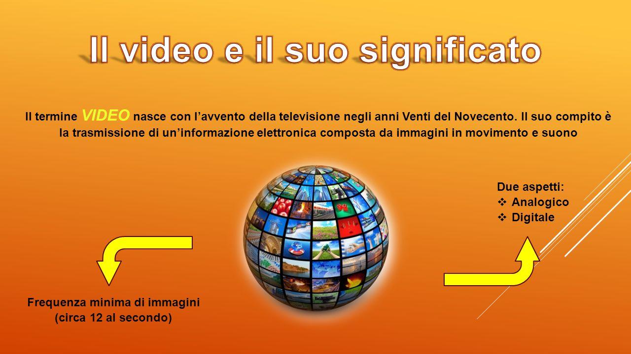 Il termine VIDEO nasce con l'avvento della televisione negli anni Venti del Novecento. Il suo compito è la trasmissione di un'informazione elettronica