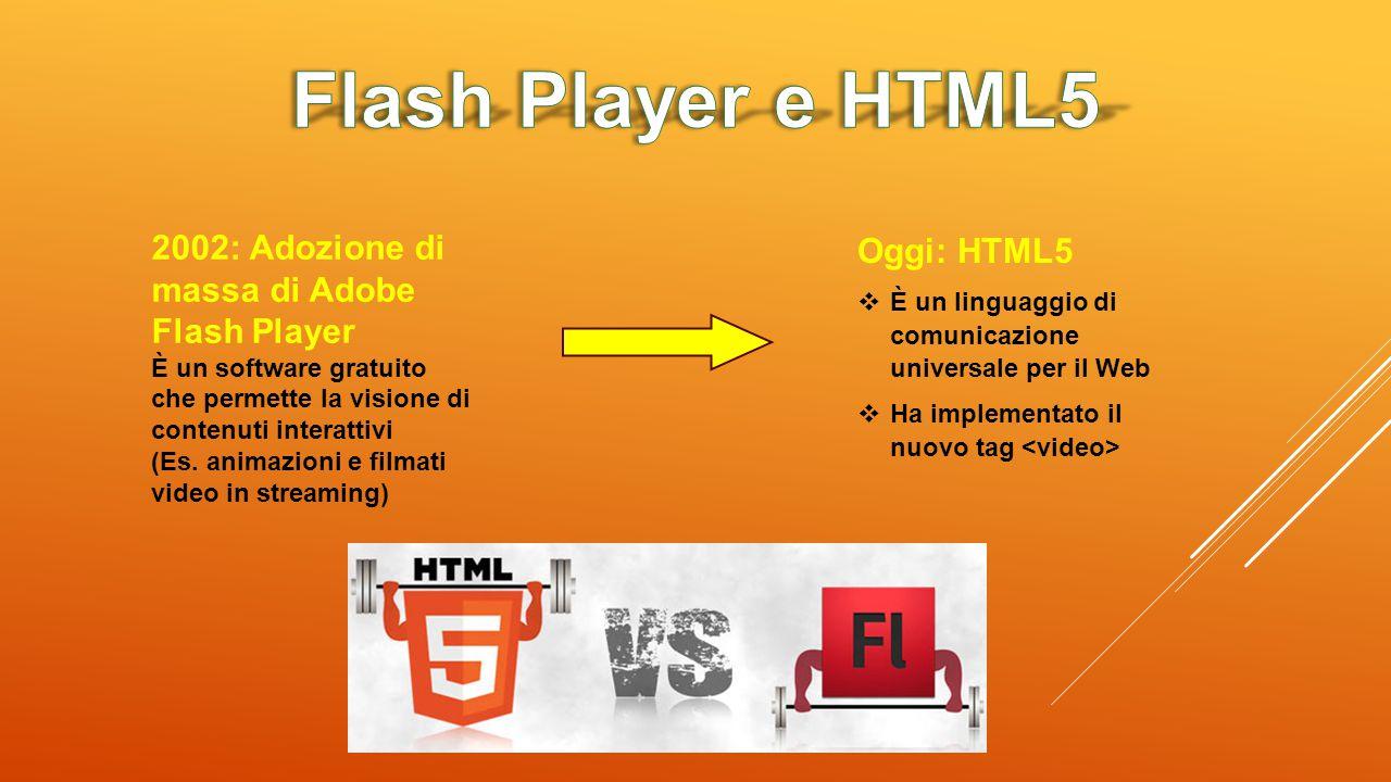 2002: Adozione di massa di Adobe Flash Player È un software gratuito che permette la visione di contenuti interattivi (Es. animazioni e filmati video
