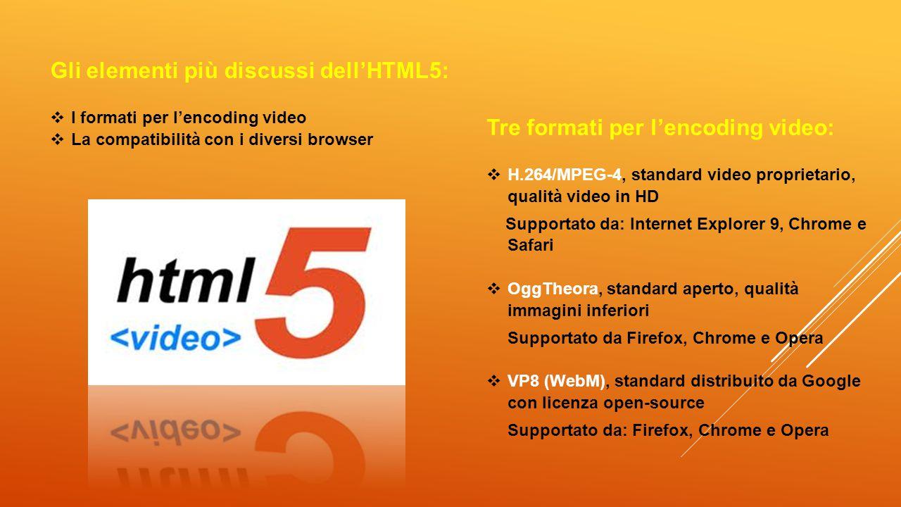 Gli elementi più discussi dell'HTML5:  I formati per l'encoding video  La compatibilità con i diversi browser Tre formati per l'encoding video:  H.