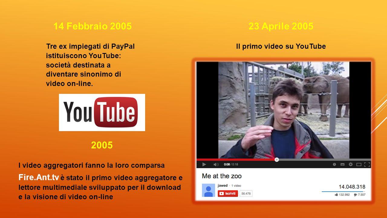 14 Febbraio 2005 Tre ex impiegati di PayPal istituiscono YouTube: società destinata a diventare sinonimo di video on-line. 23 Aprile 2005 Il primo vid
