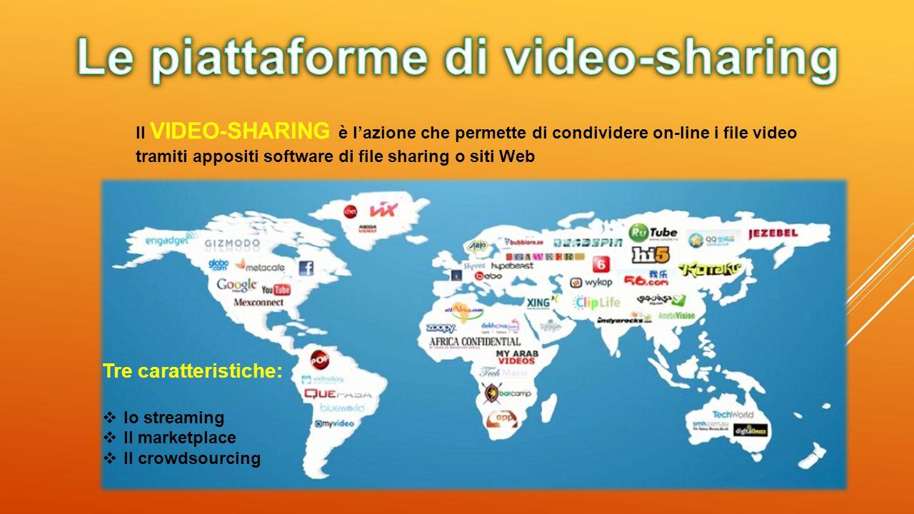 Il VIDEO-SHARING è l'azione che permette di condividere on-line i file video tramiti appositi software di file sharing o siti Web Tre caratteristiche: