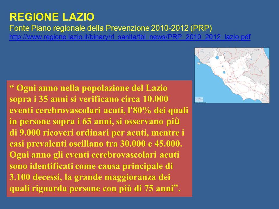 """"""" Ogni anno nella popolazione del Lazio sopra i 35 anni si verificano circa 10.000 eventi cerebrovascolari acuti, l ' 80% dei quali in persone sopra i"""