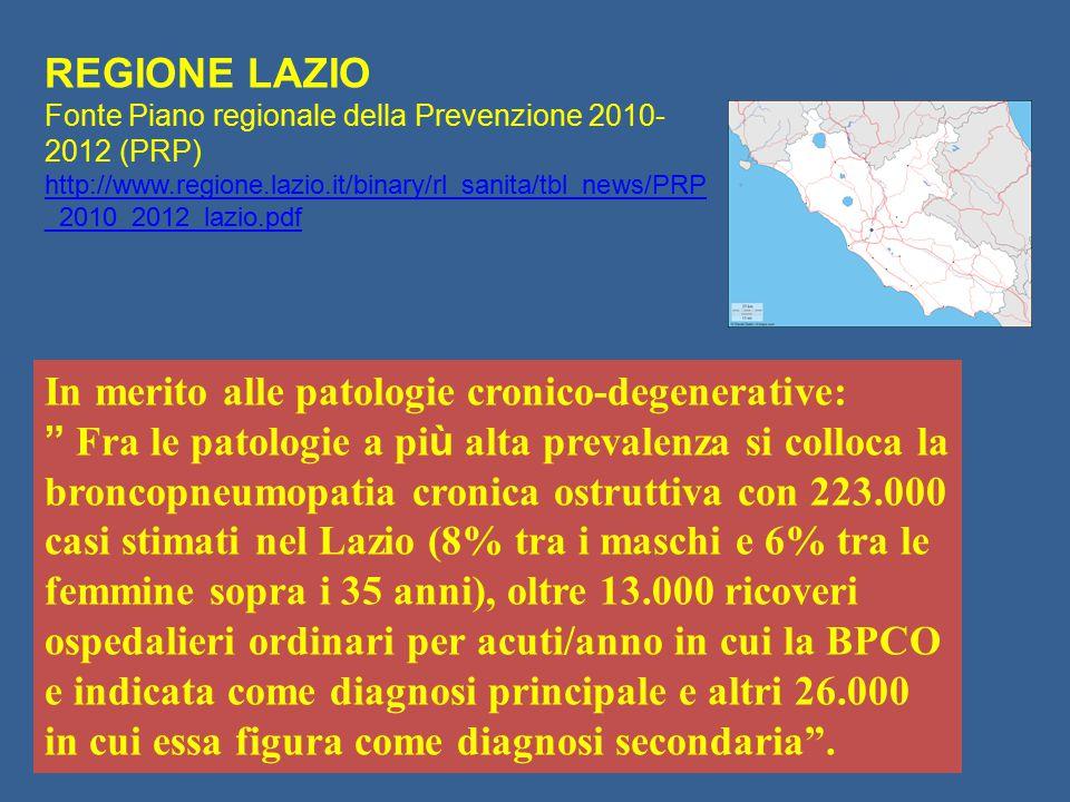 """In merito alle patologie cronico-degenerative: """" Fra le patologie a pi ù alta prevalenza si colloca la broncopneumopatia cronica ostruttiva con 223.00"""