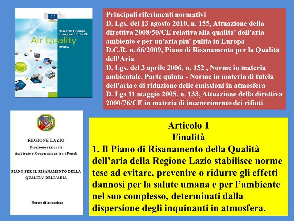 Principali riferimenti normativi D. Lgs. del 13 agosto 2010, n. 155, Attuazione della direttiva 2008/50/CE relativa alla qualita' dell'aria ambiente e